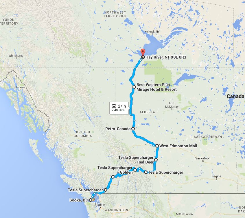 Charging locations during trip from Victoria, BC to Hay River, NWT